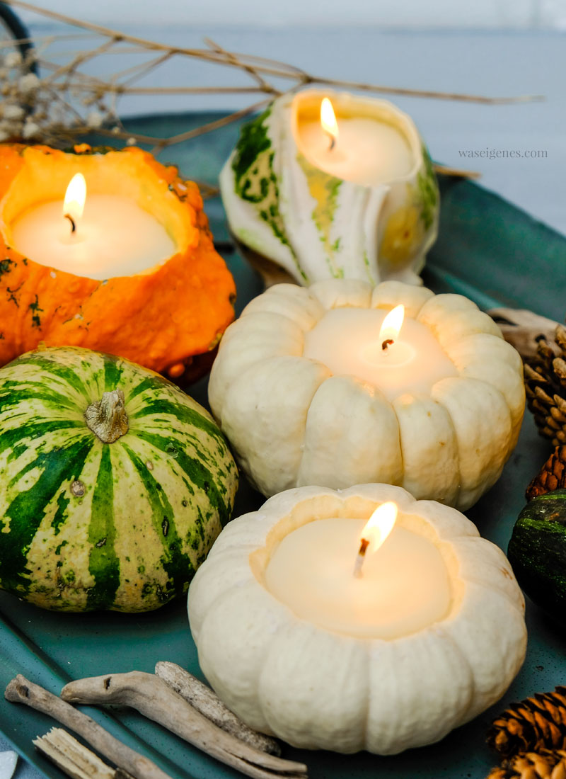 Herbst DIY: Kürbis Kerzen - Ausgehöhlte Zierkürbisse (Baby Boo), flüssiges Wachs, Kerzendocht | DIY Anleitung #KürbisKerzen #DIY | waseigenes.com