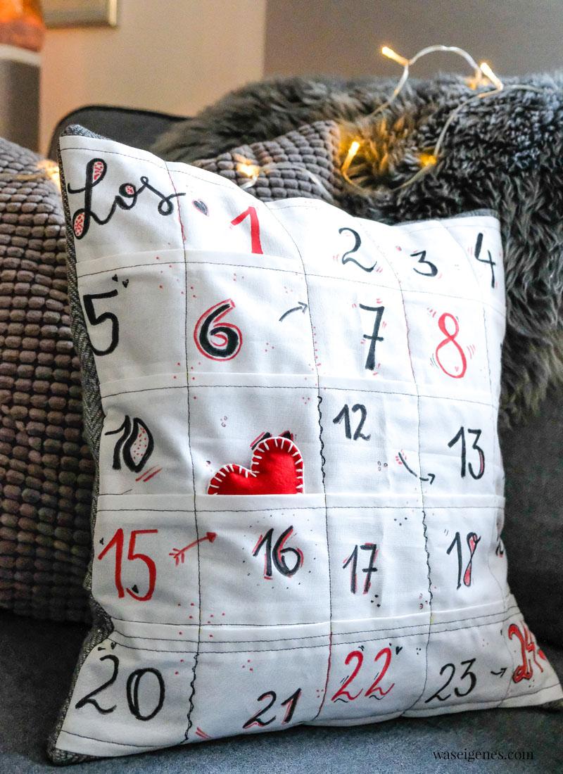 DIY Adventskalender Kissen - ein Kissenbezug mit 24 kleinen Taschen - waseigenes.com