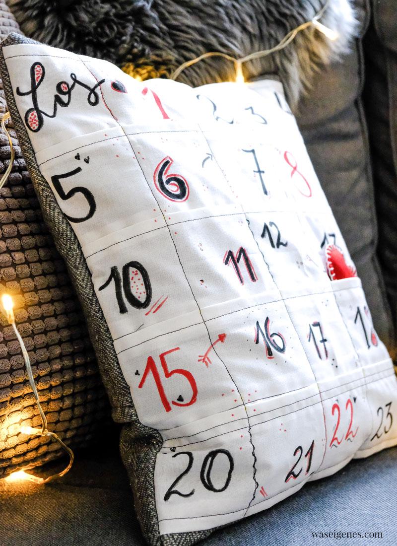 Adventskalender mal anders: DIY Adventskalender Kissen mit 24 kleinen Taschen - waseigenes.com