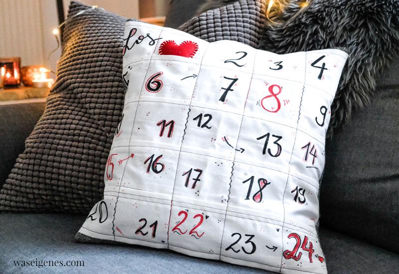 Eine Nähanleitung und Inspiration für ein DIY Adventskalender Kissen - ein Kissenbezug mit 24 kleinen Taschen, waseigenes.com