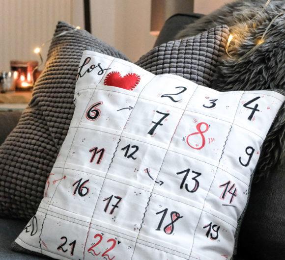 DIY Adventskalender Kissen - ein Kissenbezug mit 24 kleinen Taschen | Nähanleitung, waseigenes.com