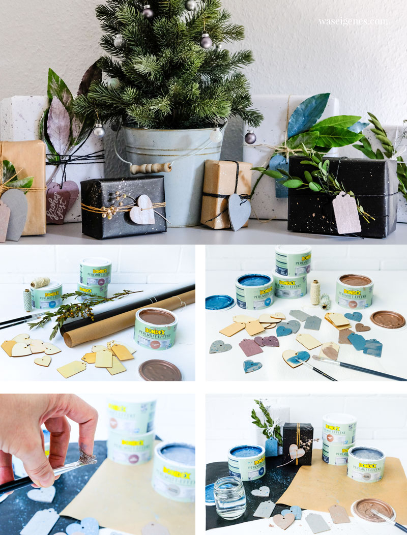 DIY Idee zu Weihnachten: Geschenke hübsch verpacken mit bemaltem und besprenkeltem Geschenkpapier und Geschenkanhänger aus Holz | waseigenes.com