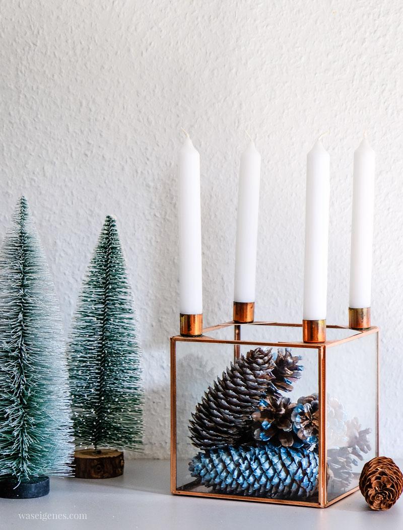 Drei DIY Ideen rund um Weihnachten: Tannenzapfen bemalen - hübsche Tischdeko | waseigenes.com