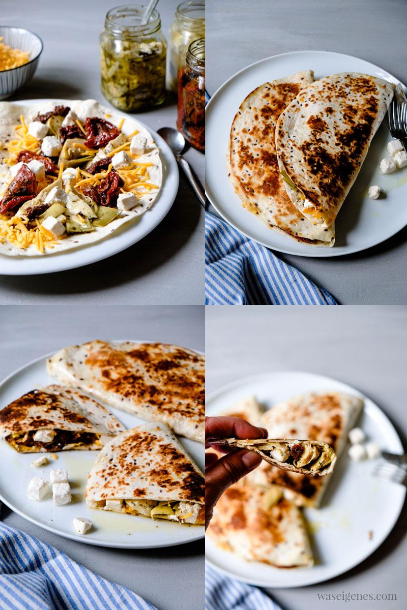 Schnelle Mittagessen Inspiration:  Quesadilla (Weizen Tortilla) mit getrockneten Tomaten, Artischocken, Feta & Cheddar | waseigenes.com