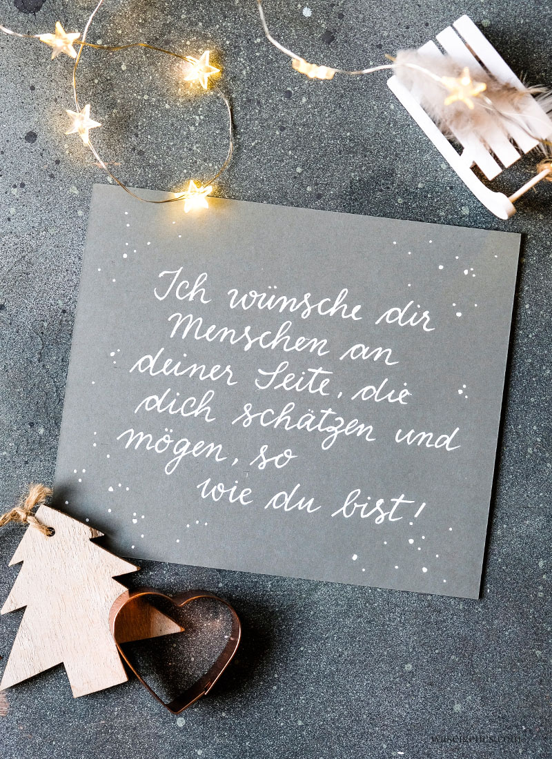 Adventskalender der guten Gedanken: Ich wünsche dir Menschen an deiner Seite, die dich schätzen und mögen, so wie du bist! | waseigenes.com