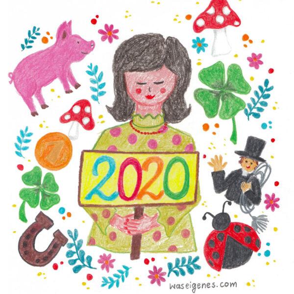 Hallo 2020! Ich wünsche Euch ein frohes neues Jahr! waseigenes.com #malen #Glück #Illustration