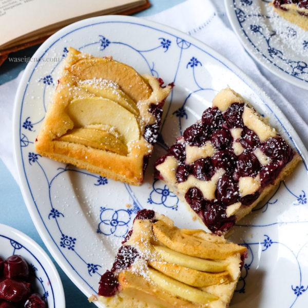 Köstlicher Obstkuchen: Rezept für Obstkuchen vom Blech belegt mit Schattenmorellen und Apfelschnitzen | waseigenes.com