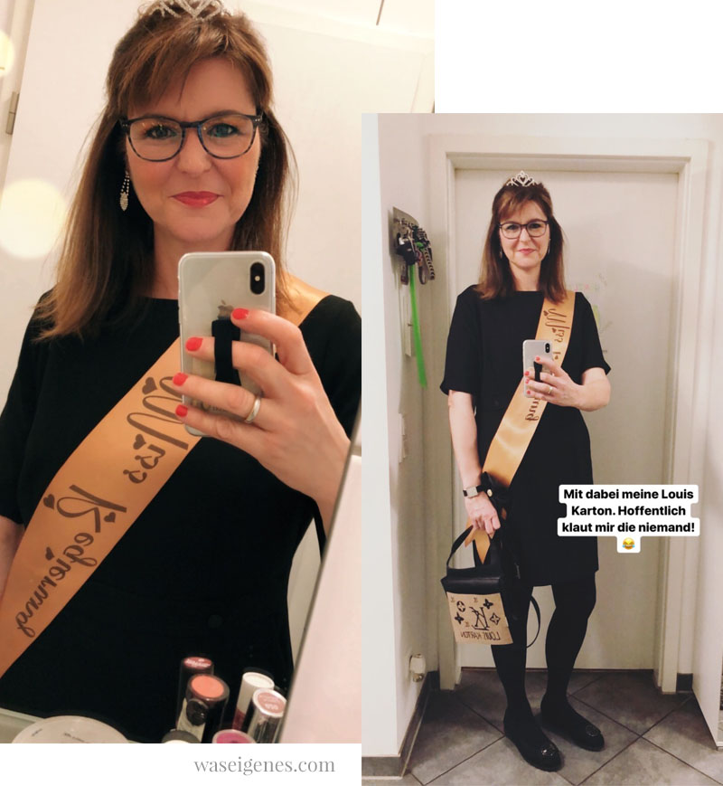 DIY Karnevalskostüm: Miss Regierung. Schwarzes Kleid, Krönchen, Schärpe | Miss Vergnügt, Miss Management | waseigenes.com