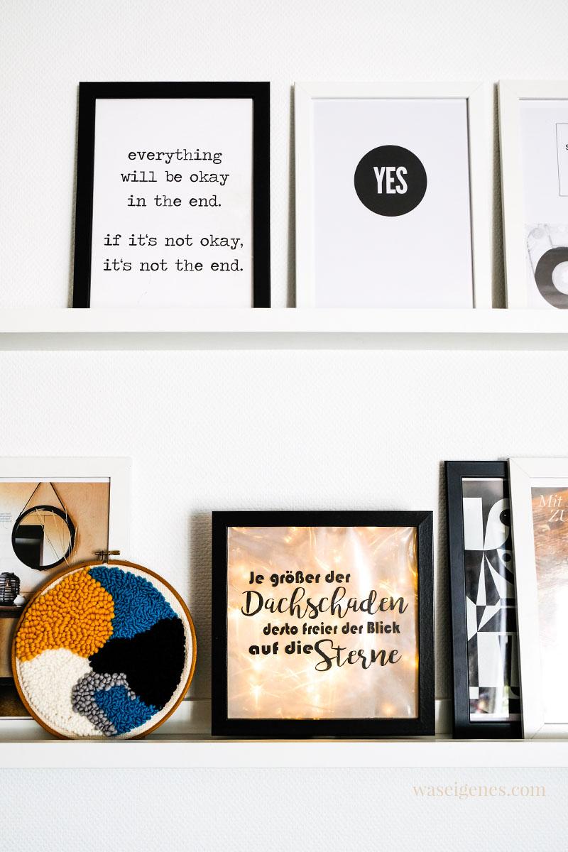 DIY Lightbox selber machen: aus einem breiten Bilderrahmen und einer Lichterkette. Dazu ein schöner pder lustiger Spruch | waseigenes.com