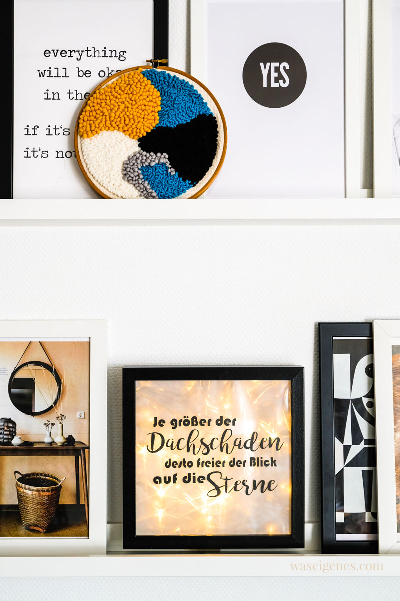 Bilderleiste mit Punch Needle Stickbild, Bilder aus Zeitschriften und einer Lightbox, waseigenes.com