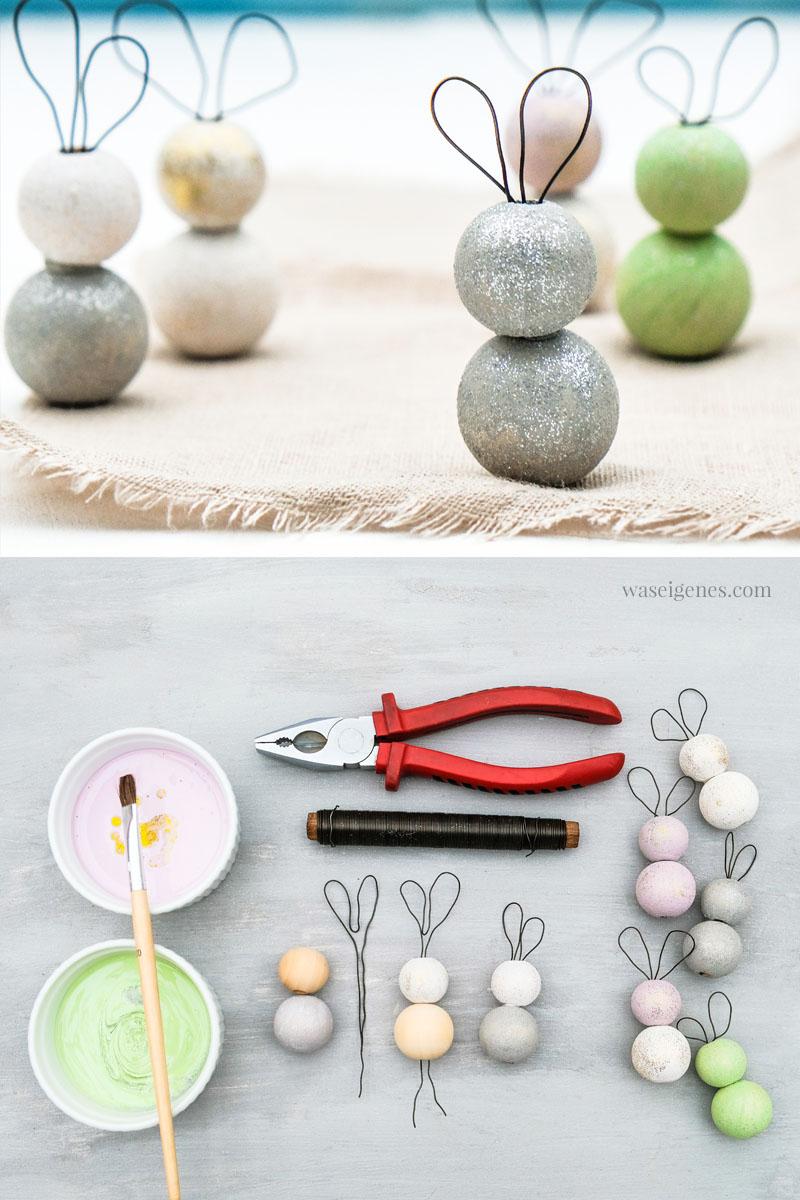 DIY: Kleine Osterhasen aus Holzkugeln und Draht basteln, #DIY #Ostern #OsternDIY waseigenes.com