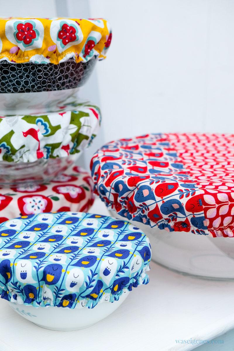 DIY Schüsselabdeckung nähen aus Baumwolle, abwaschbarem Duschvorhangstoff und Gummiband - praktisch, umweltfreundlich und nachhaltig, waseigenes.com