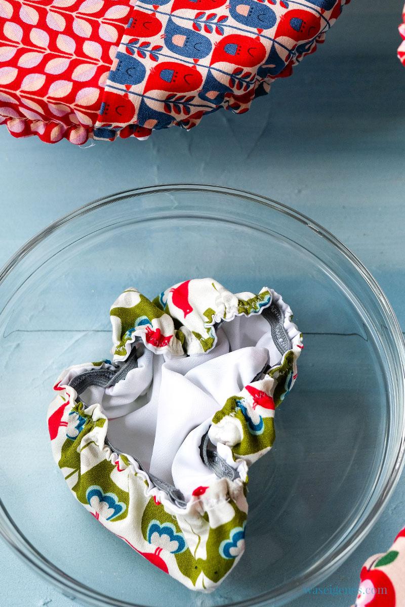 So nähst Du Dir hübsche  Schüsselhauben, mit denen Du Deine Salatschüssel abdecken kannst - praktisch, umweltfreundlich und nachhaltig, waseigenes.com