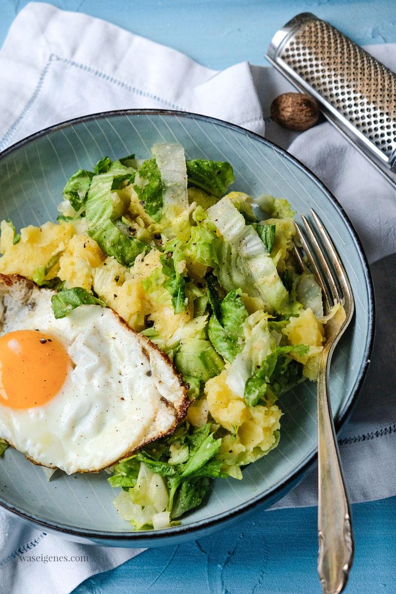 Mittagessen: Kartoffelpüree mit Endiviensalat und Spiegelei, waseigenes.com