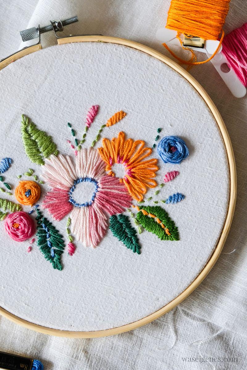 DIY Handstickerei, Blumen im Stickrahmen, waseigenes.com