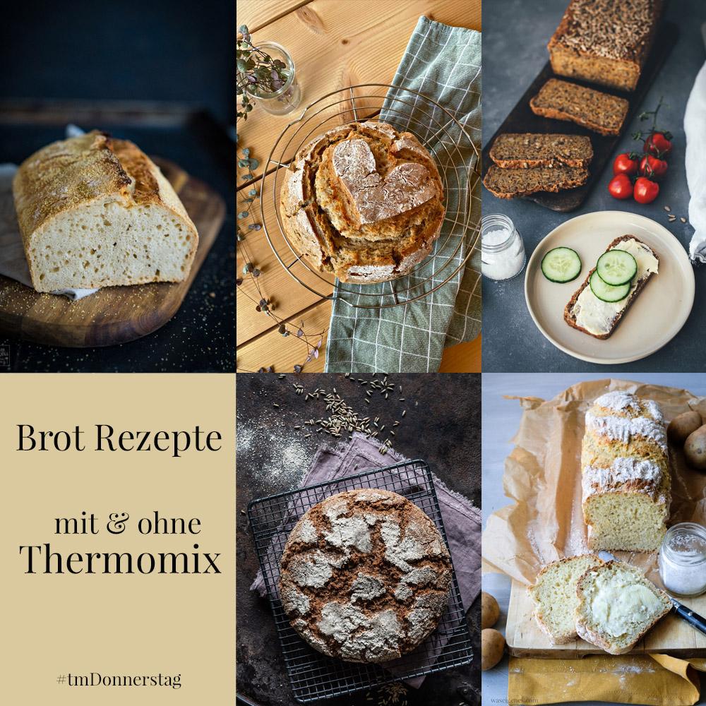 Fünf Brot Rezepte mit und ohne Thermomix | Zwiebelbrot, Kartoffelbrot, Roggenbrot, Bierbrot und Möhren-Sonnenblumenkern Brot