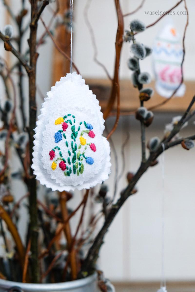 DIY: Ostereier nähen und mit Blumen besticken | waseigenes.com