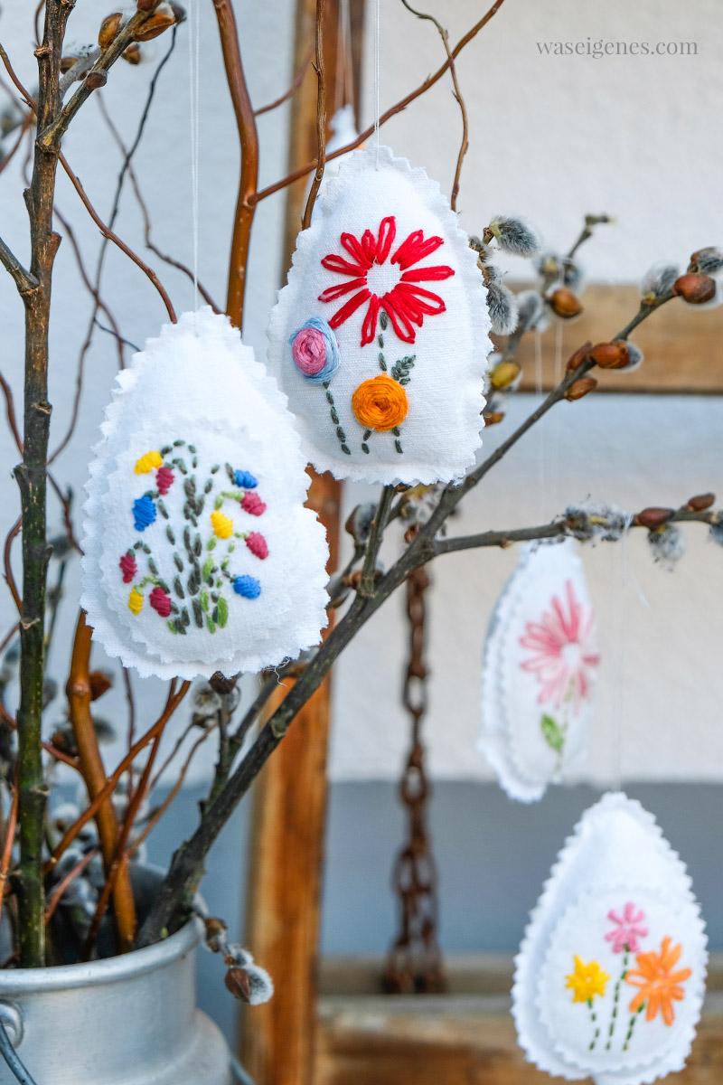 Nähen & Sticken: Bestickte Ostereier mit Blumen | Osterdeko | waseigenes.com