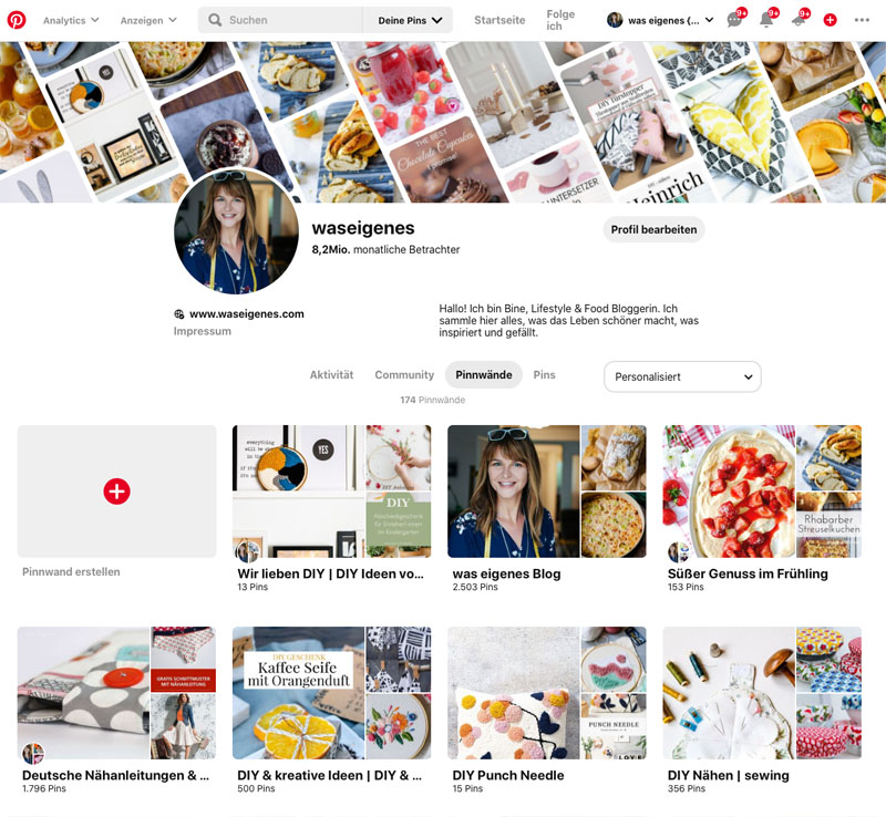 Pinterest Account von waseigenes.com
