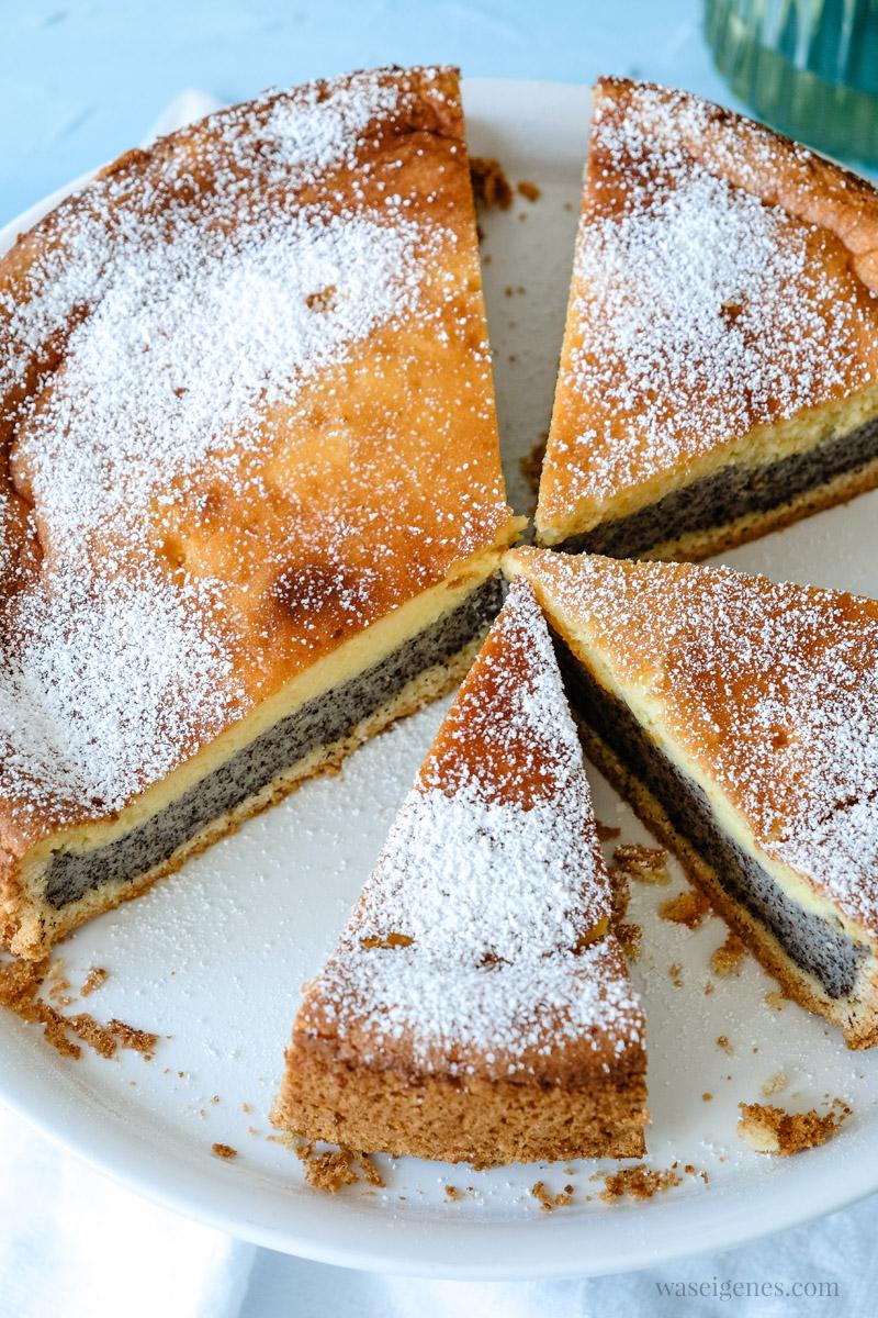 Saftiger Mohnkuchen aus Mürbeteig, Mohnschicht und Vanillepudding-Schicht, waseigenes.com