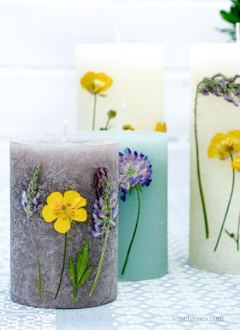 Graue, mint-farbene und creme-farbene Kerzen mit Hilfe eines Föns mit getrockneten Blumen verzieren | waseigenes.com