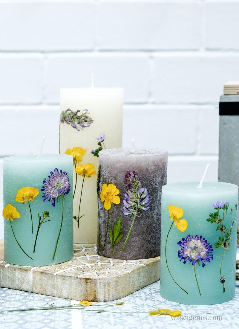 So gestaltest und verzierst Du farbige Kerzen mit getrockneten Blumen | waseigenes.com