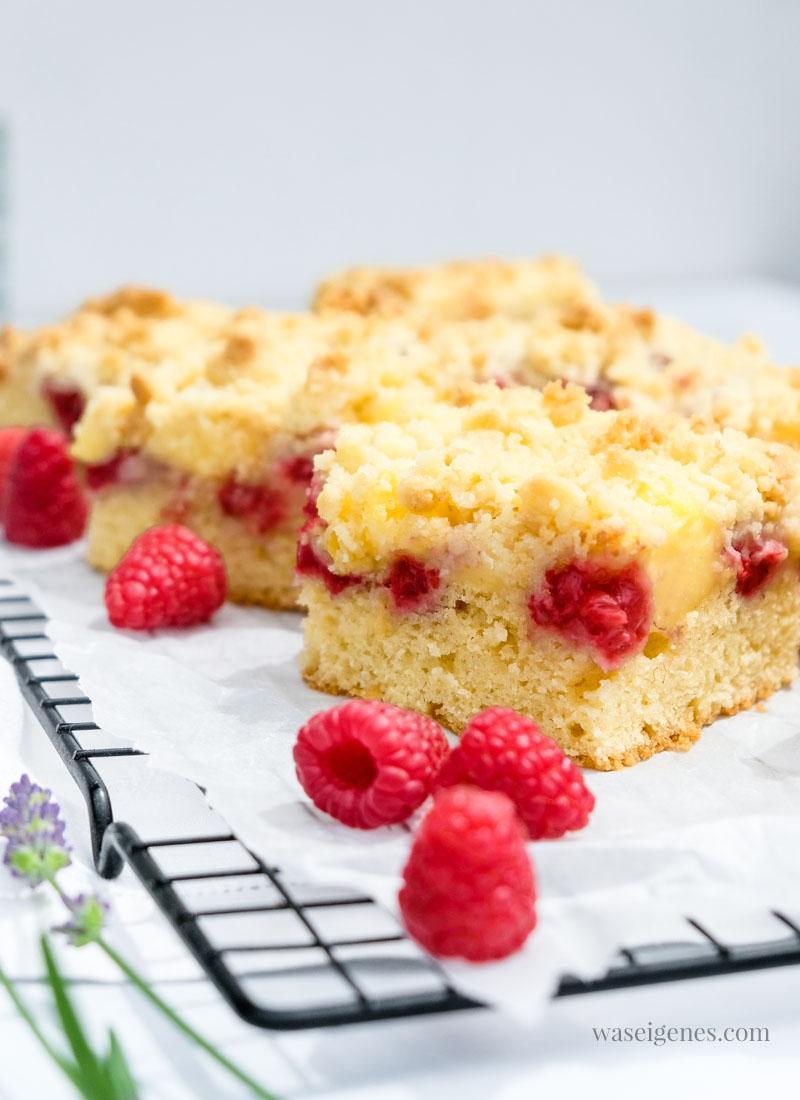 Köstlicher Sommerkuchen in der rechteckigen Springform gebacken: Streuselkuchen mit Himbeeren und Vanillepudding | waseigenes.com