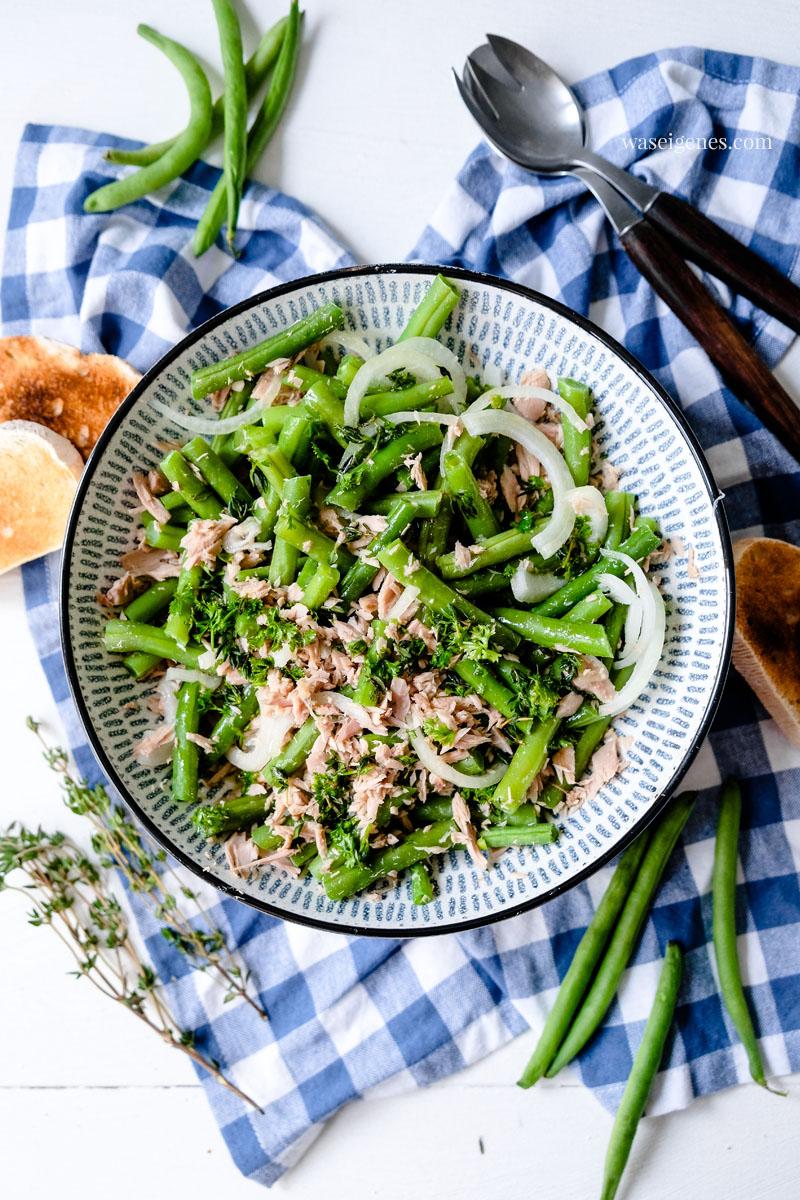 Sommersalat: Bohnensalat mit Thunfisch, Zwiebeln, Thymian und Petersilie, waseigenes.com