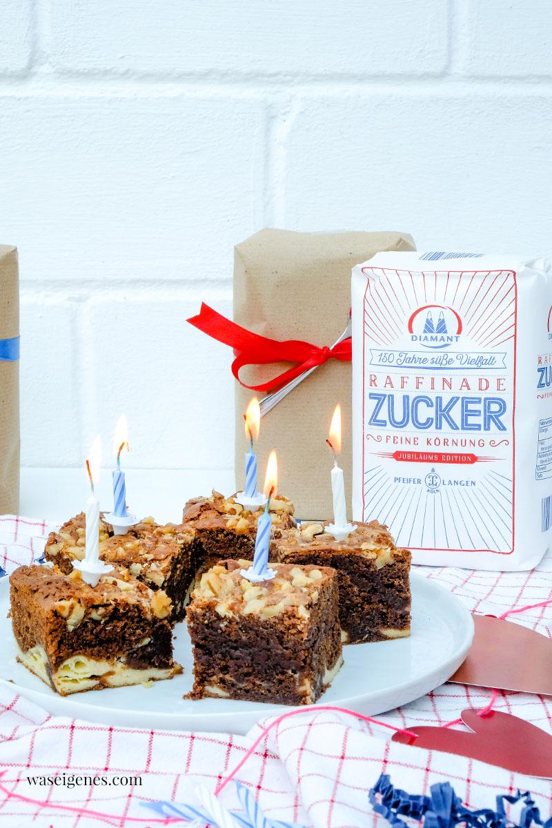 Rezept: Cheesecake Brownies mit Walnüssen -  Happy Birthday Diamant Zucker, 150 Jahre Pfeifer & Langen | waseigenes.com