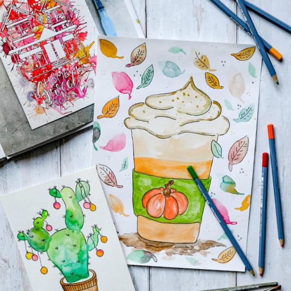 Aquarellmalerei - Pumpkin Spice Latte und Weihnachtskaktus | waseigenes.com DIY & Food Blog