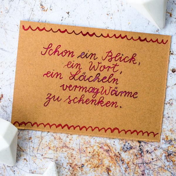 Adventskalender der guten Gedanken & Wünsche {Türchen Nr. 9}: Schon ein Blick, ein Wort, ein Lächeln vermag Wärme zu schenken. | waseigenes.com