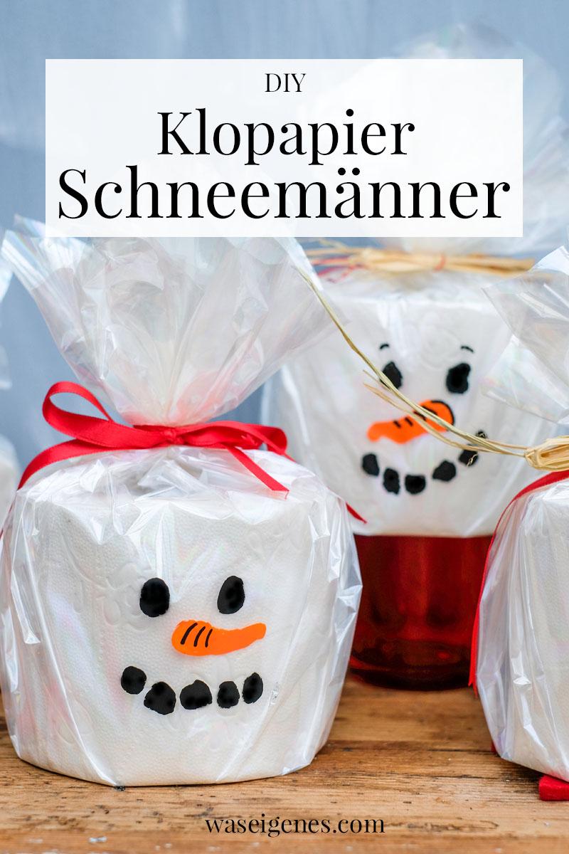 DIY Toilettenpapier Schneemann | Einen Schneemann aus Klopapier, Folie und wasserfesten Stiften basteln | waseigenes.com