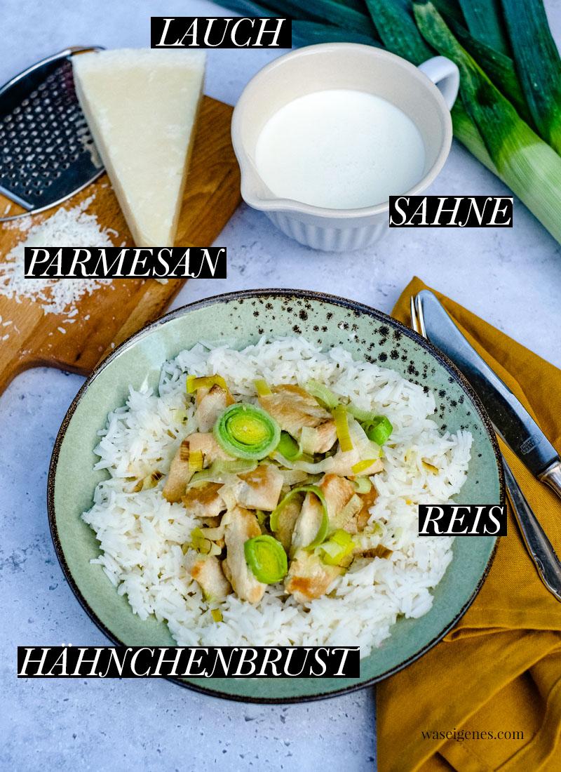 Hähnchengeschnetzeltes in Lauch-Sahne-Soße mit Parmesan. Dazu gibt's Reis | waseigenes.com | Was koche ich heute? | Rezepte für die Familie