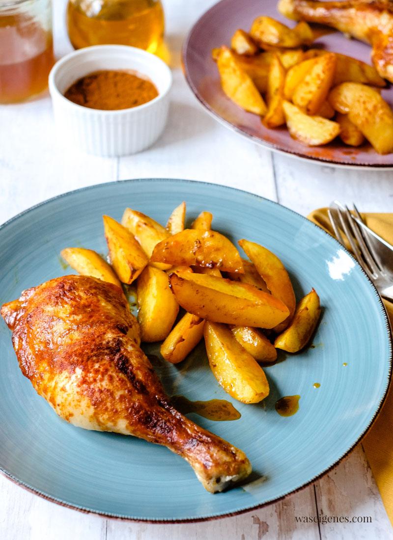Rezept: Hähnchenschenkel mit Honig-Marinade und Kartoffeln aus dem Ofen | waseigenes.com #EUPoultry  #EnjoyItsFromEurope #5ZutatenChallenge   #WeLoveGeflügel