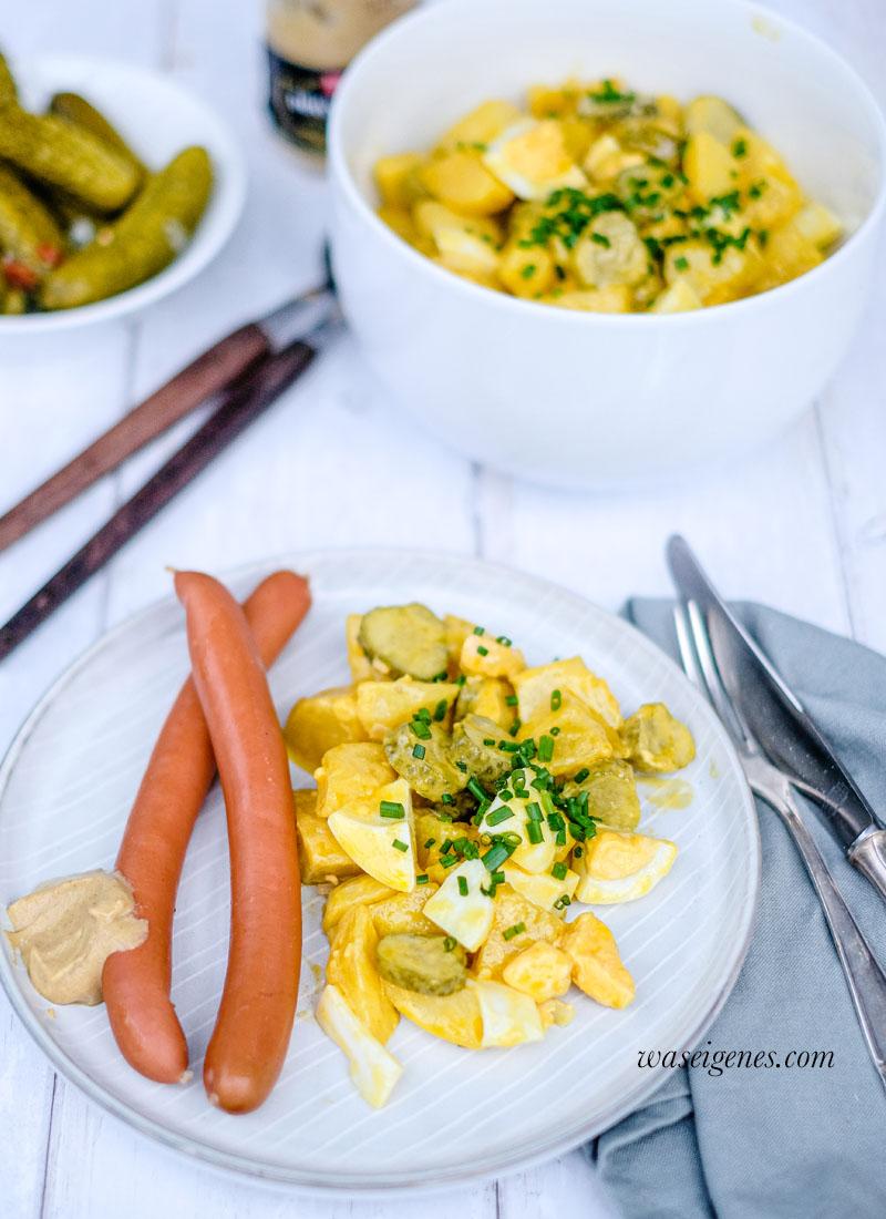 Kartoffelsalat mit Gewürzgurken Ei und dazu 'ne Knackwurst | waseigenes.com | Was koche ich heute? Familienrezepte