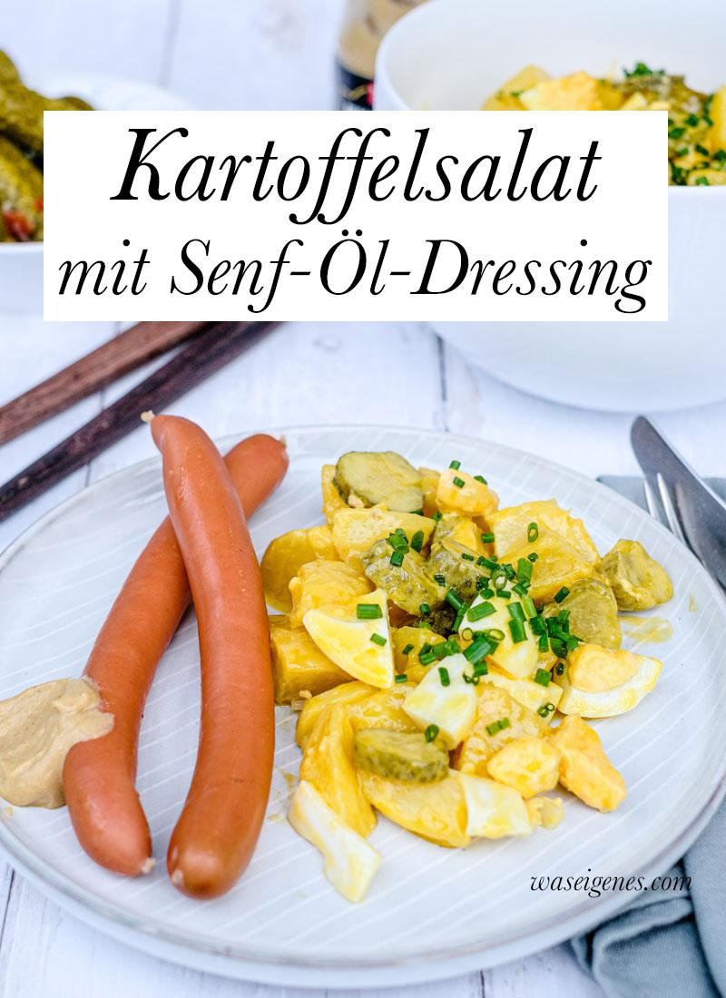 Kartoffelsalat mit Senf-Öl-Dressing, Gewürzgurken Ei und dazu 'ne Knackwurst | waseigenes.com | Was koche ich heute? Familienrezepte