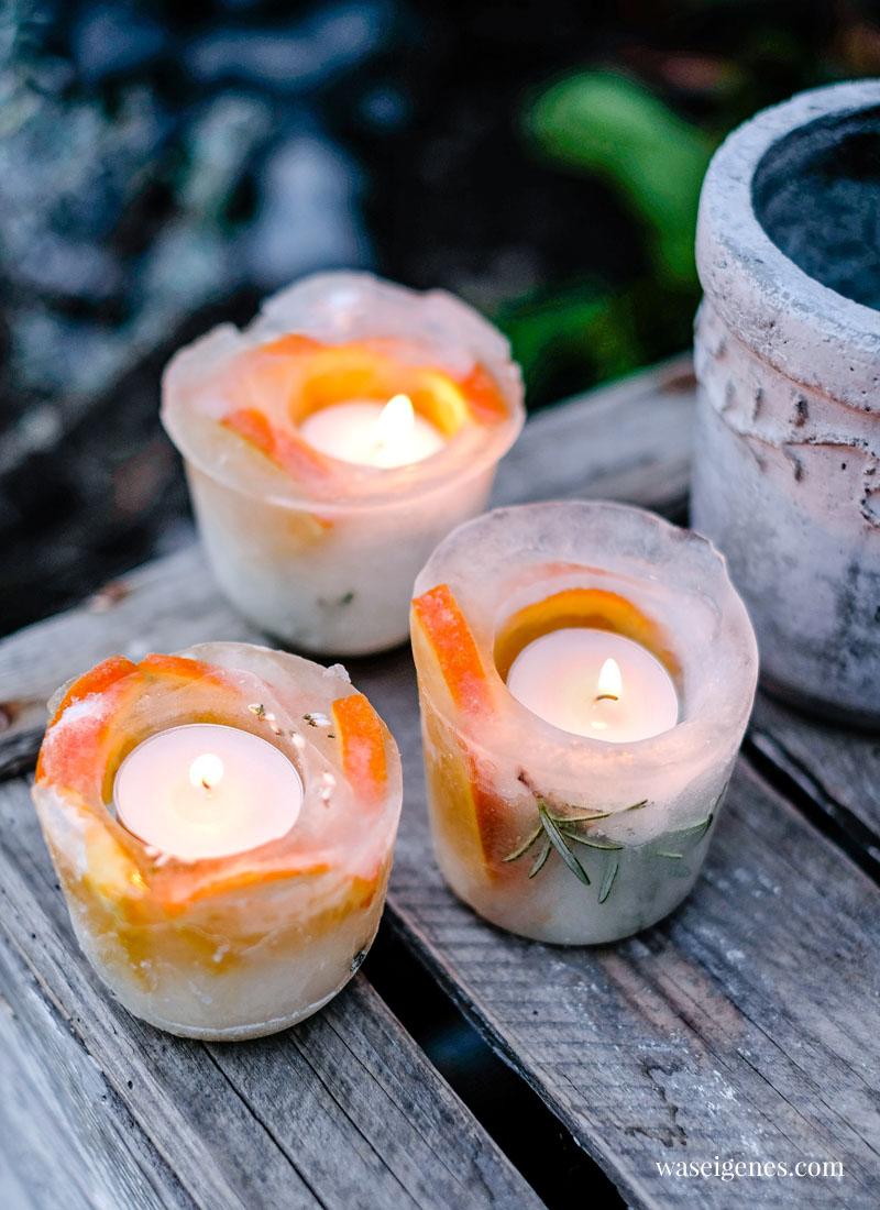DIY Eislichter (Eislaternen) - geeiste Windlichter selber machen mit Orangen, Rosmarin und Erika | waseigenes.com