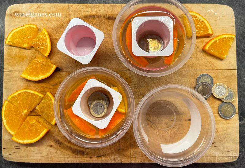 So machst Du Eislichter selber: Joghurtbecher, Orangenscheiben, Rosmarin, Wasser, Gefrierschrank | waseigenes.com