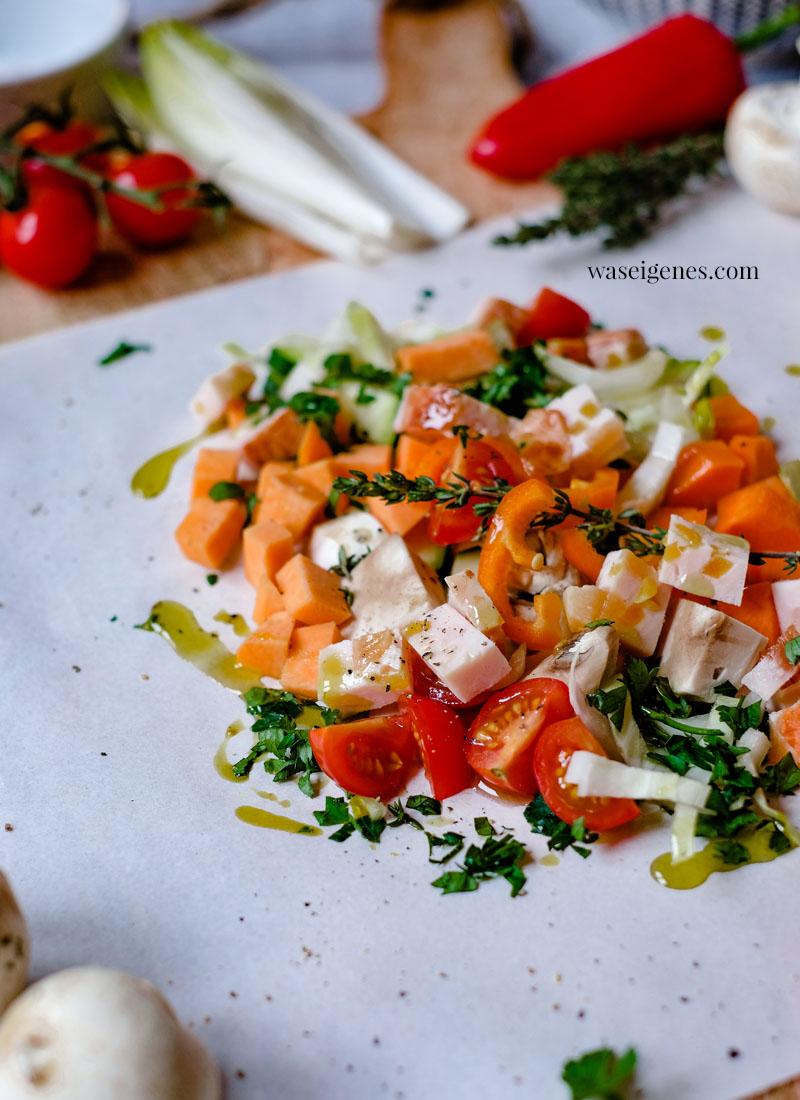 Rezept: Gemüsepäckchen mit Hähnchenbrust und Basmati Reise - schnelles und einfaches Mittagessen | Was koche ich heute? Familienrezepte | waseigenes.com
