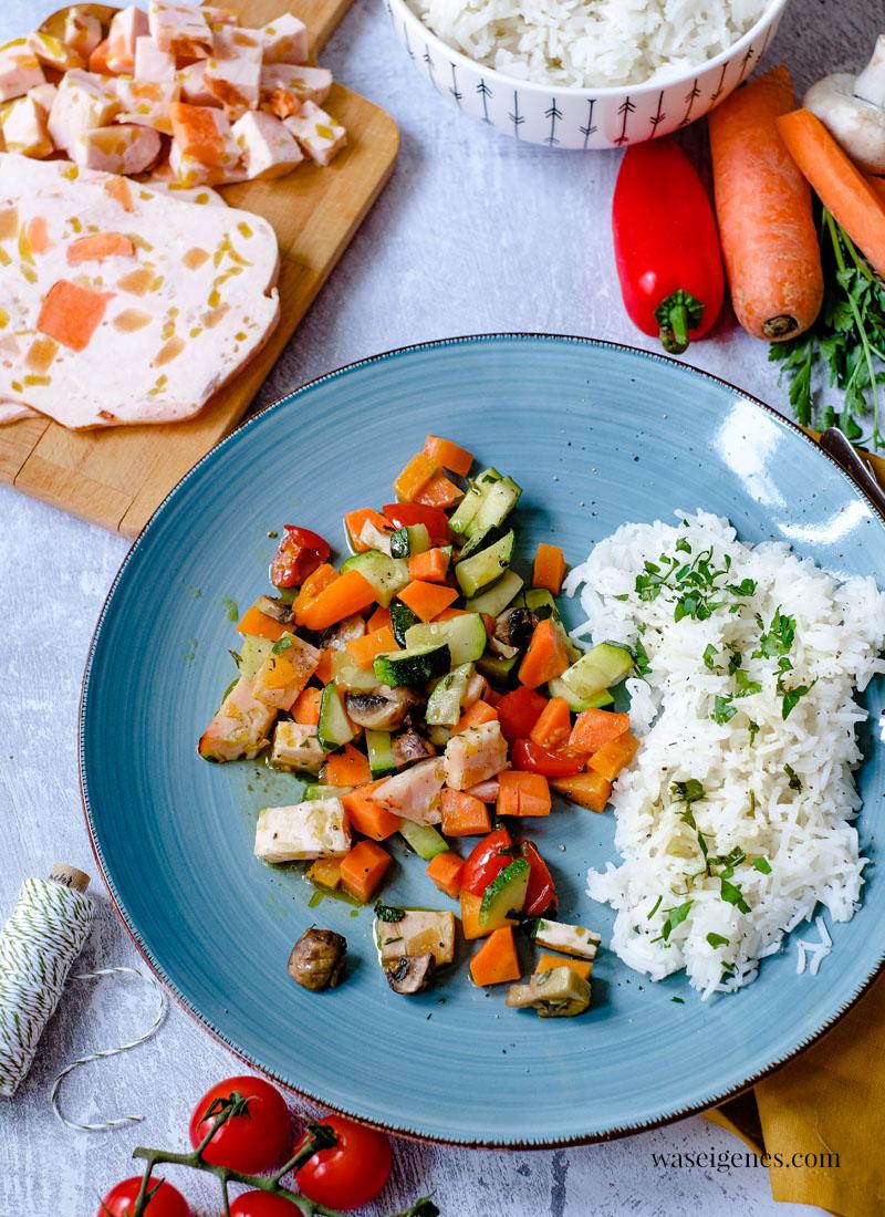 Rezept: Gemüsepäckchen mit Basmati Reis | Ein schnelles und leckeres Mittagessen | Was koche ich heute? | waseigenes.com