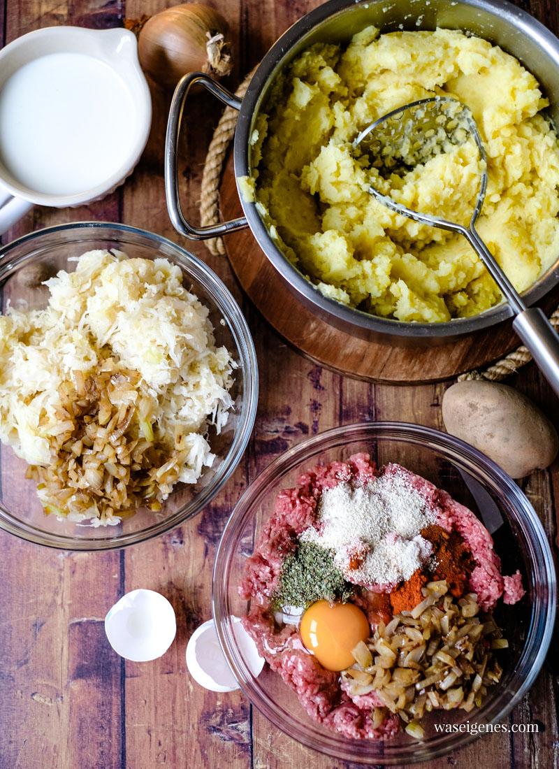 Auflauf Rezept mit Hack, Sauerkraut und Kartoffelpüree Haube - herzhaft und sättigend | waseigenes.com