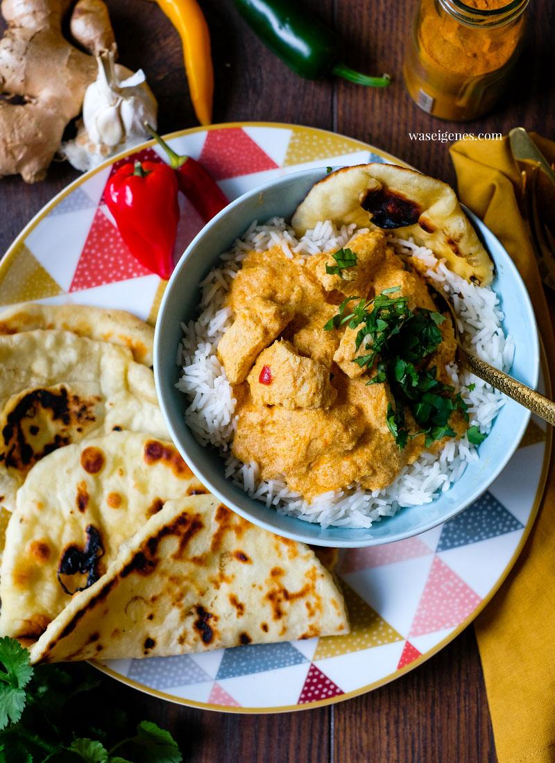 Rezept: Cremiges Butter Chicken Curry aus dem Thermomix mit Basmati Reis und Naan | Was koche ich heute? Rezepte für die Familie? | waseigenes.com
