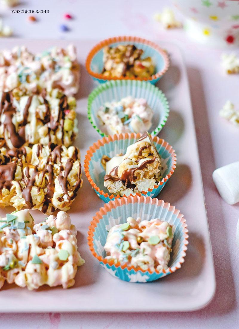 Rezept: Popcorn-Marshmallow-Riegel mit Schokoladen Kuvertüre und Smarties | knusprig, süß und lecker | waseigenes.com