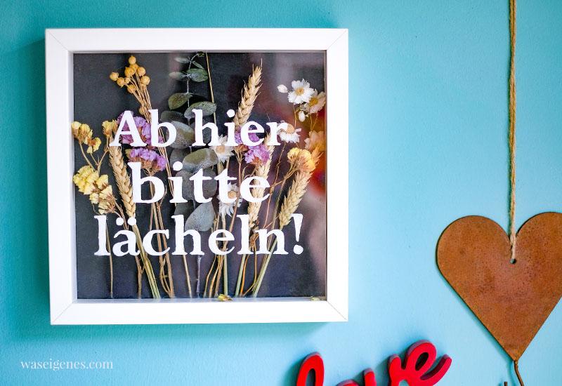 DIY Bilderrahmen mit Schriftzug und Trockenblumen   Ab hier bitte lächeln!   waseigenes.com