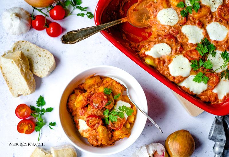 Rezept: Cremiger Gnocchi Auflauf mit Mozzarella überbacken | waseigenes.com