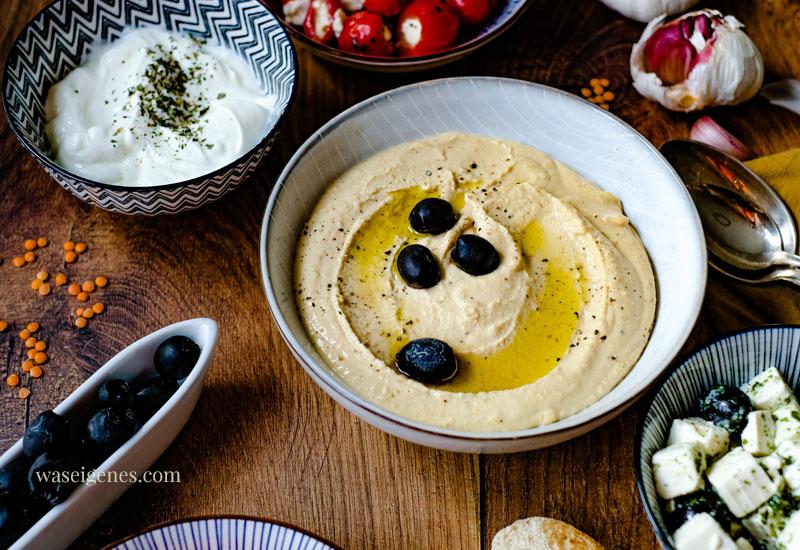 Rezept: Hummus mit roten Linsen | Was ist in Hummus drin? Was schmeckt zu Hummus? | waseigenes.com