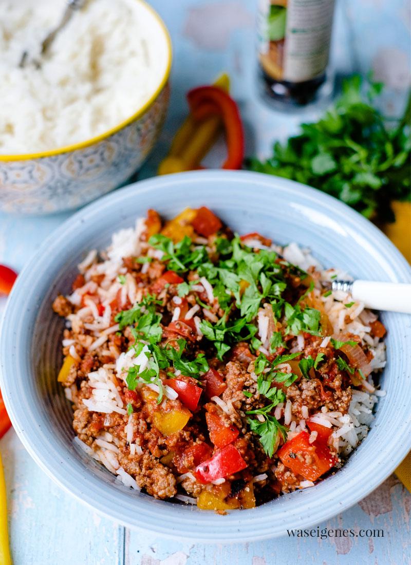 Was koche ich heute? Rezept: Schnelle Paprika-Hack-Pfanne mit Reis   waseigenes.com