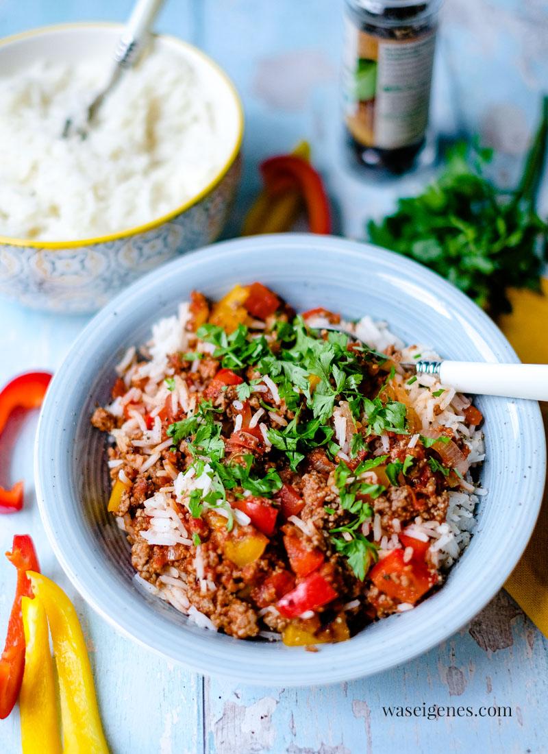 Rezept: Schnelle Paprika-Hack-Pfanne mit Reis   waseigenes.com   Was koche ich heute?   Rezepte für die Familie   schnell & einfach   Bine Güllich