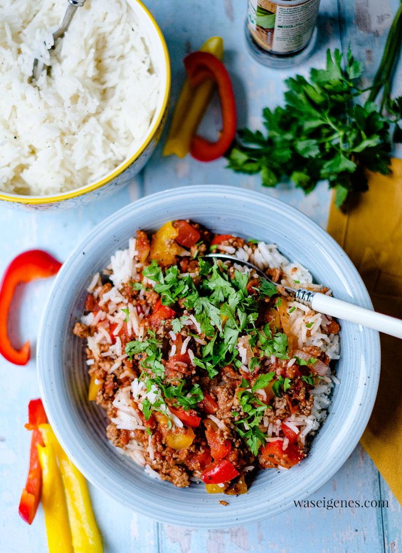 Rezept: Schnelle Paprika-Hack-Pfanne mit Reis   waseigenes.com